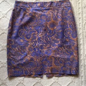 LOFT blue/brown patterned skirt 6P